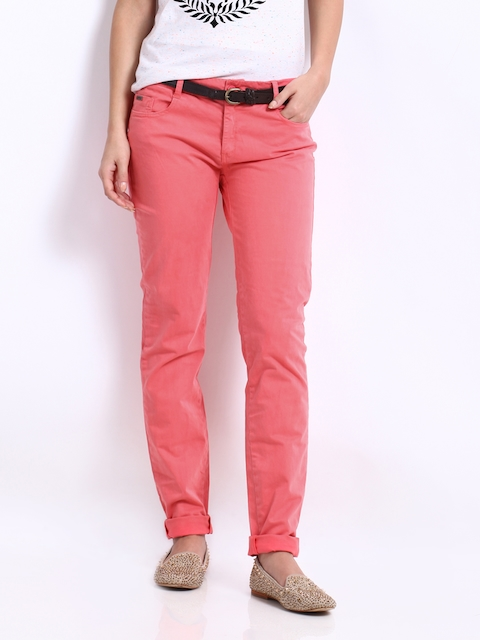 Being Human Clothing Women Coral Pink Slim Fit Trousers