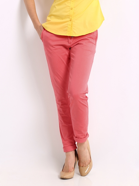 Being Human Clothing Women Coral Pink Slim Fit Chino Trousers