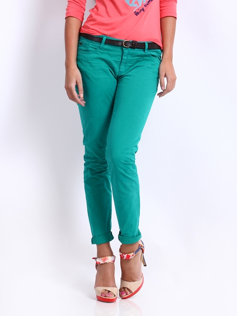 Being Human Clothing Women Green Skinny Fit Trousers