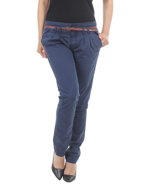 Being Human Clothing Women Navy Slim Fit Chino Trousers