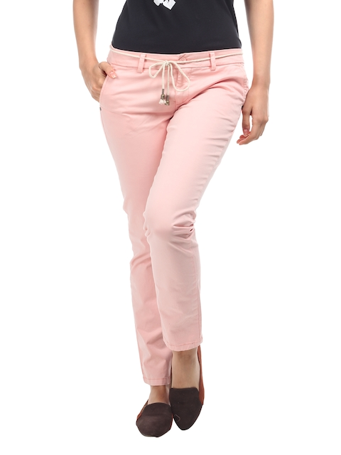 Being Human Clothing Women Pink Slim Fit Chino Trousers