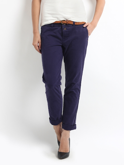 Being Human Clothing Women Purple Slim Fit Chinos