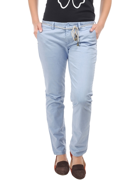 Being Human Clothing Women Sky Blue Slim Fit Chino Trousers