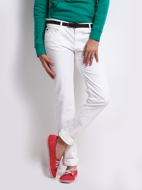 Being Human Clothing Women White Skinny Fit Trousers