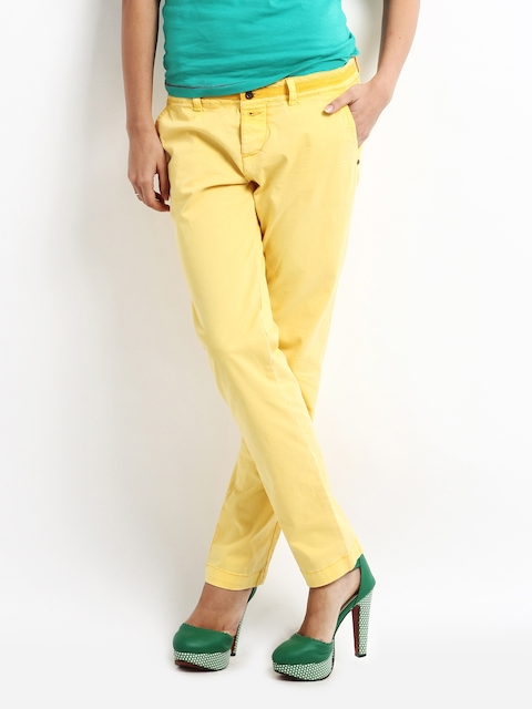 Being Human Clothing Women Yellow Slim Fit Chinos