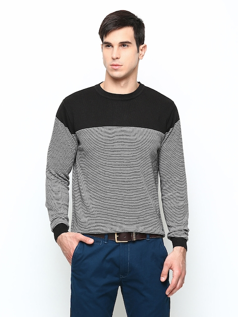 Blackberrys Men Black Striped Sweater