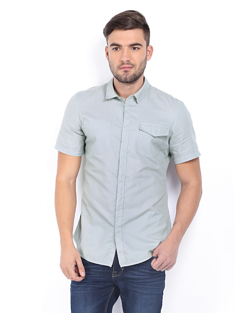 Calvin Klein Jeans Men Grey Slim Fit Casual Shirt  available at myntra for Rs.2999