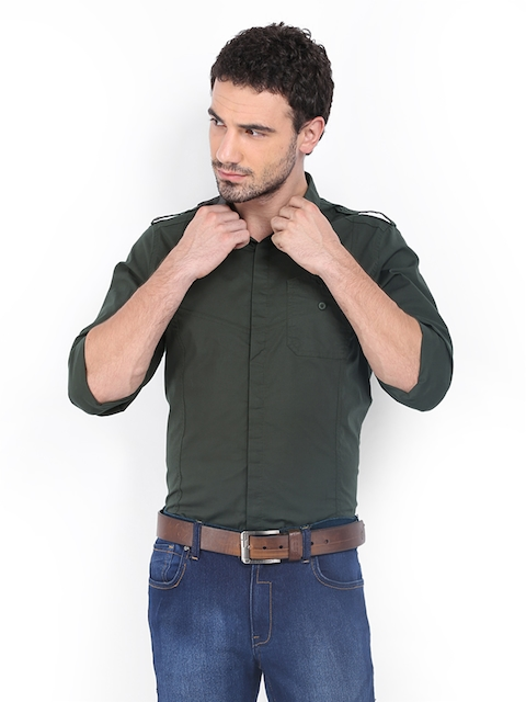 Calvin Klein Jeans Men Olive Green Casual Shirt  available at myntra for Rs.3709
