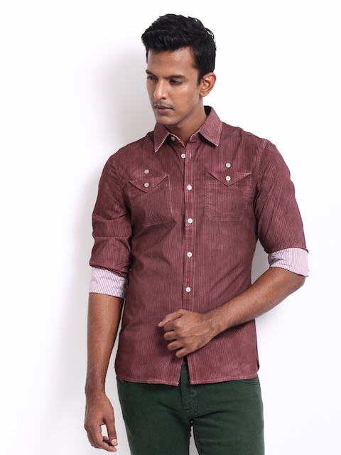 Calvin Klein Jeans Men Maroon Striped Slim Fit Casual Shirt  available at myntra for Rs.3439