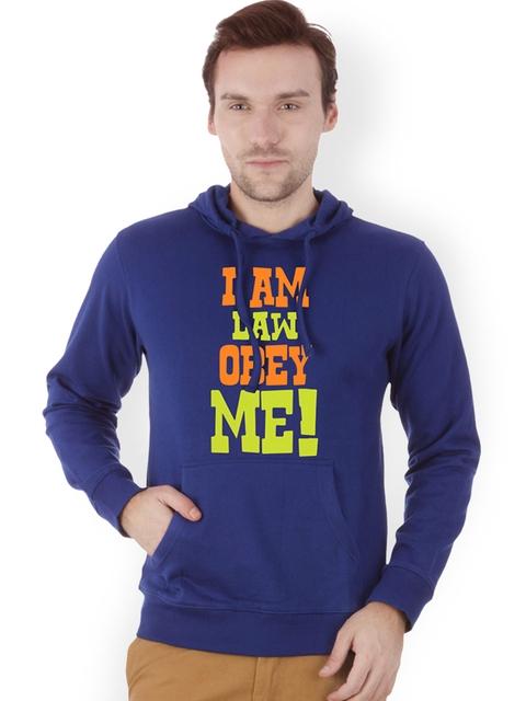 Campus Sutra Men Royal Blue Printed Hooded Sweatshirt