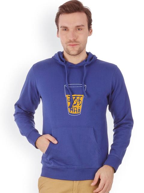 Campus Sutra Men Blue Printed Hooded Sweatshirt