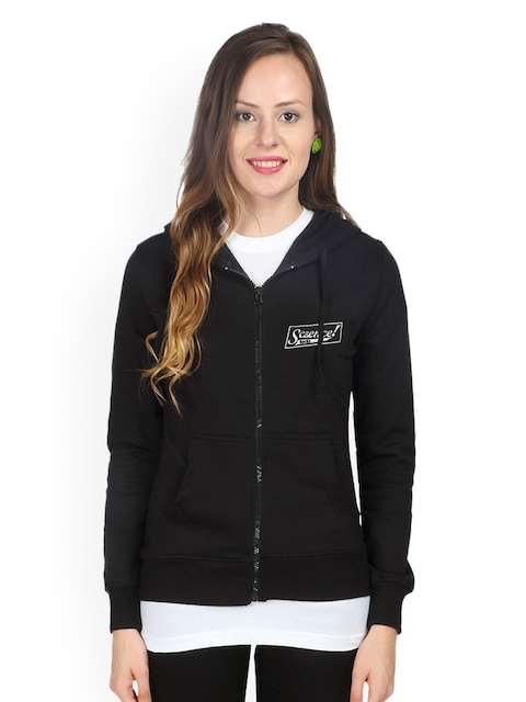 Campus Sutra Women Black Hooded Sweatshirt