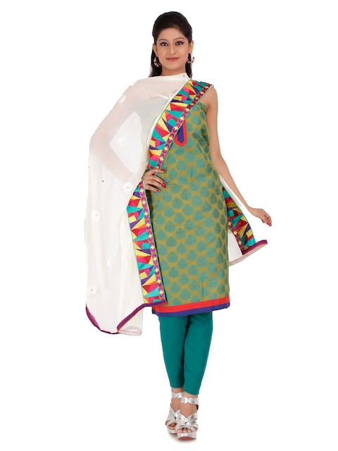 Chhabra 555 Lime Green & Teal Green Brasso Dress Material