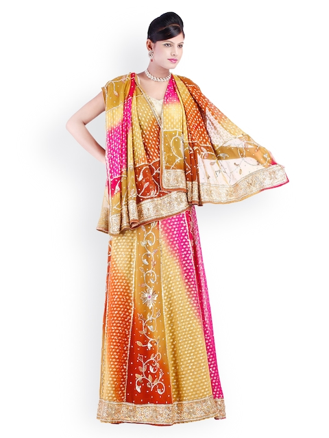 18f941df70a Chhabra 555 Multicoloured Georgette Unstitched Lehenga Choli Material with  Dupatta