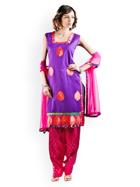 Chhabra 555 Women Purple Embroidered Salwar Kurta with Dupatta