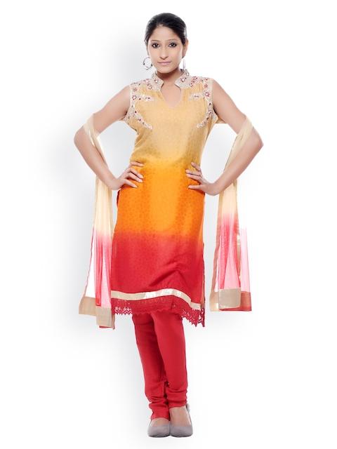 Chhabra 555 Women Beige & Red Art Georgette Churidar Kurta with Dupatta