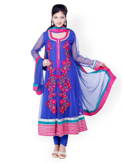 Chhabra 555 Blue Embroidered Net Churidar Kurta with Dupatta