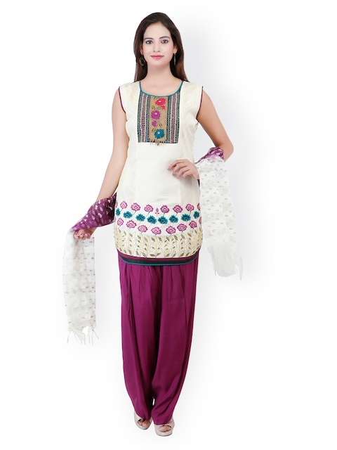Chhabra 555 Women Off-White & Purple Embroidered Salwar Suit