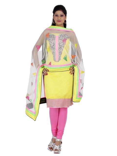 Chhabra 555 Yellow & Pink Cotton Semi-Stitched Dress Material