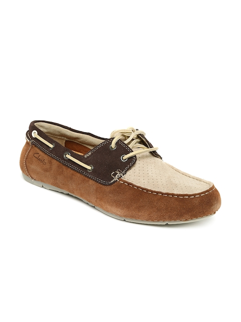 Clarks Men Brown & Beige Leather Boat Shoes