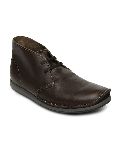 Clarks Men Dark Brown Leather Newton Mass Casual Shoes