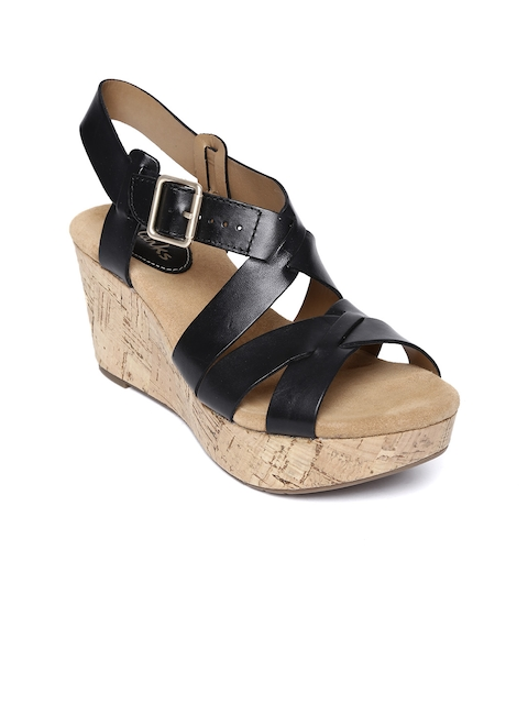 Clarks Women Black Leather Wedges