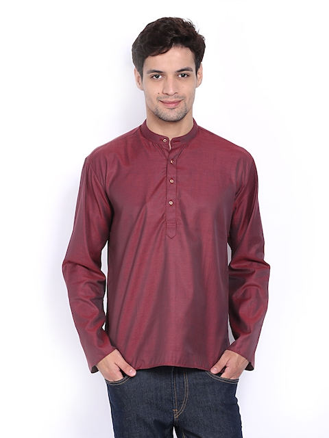 Dennis Morton Men Maroon Striped Short Kurta  available at myntra for Rs.596