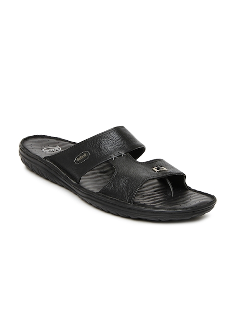 Dr. Scholl Men Black Leather Sandals  available at myntra for Rs.1274