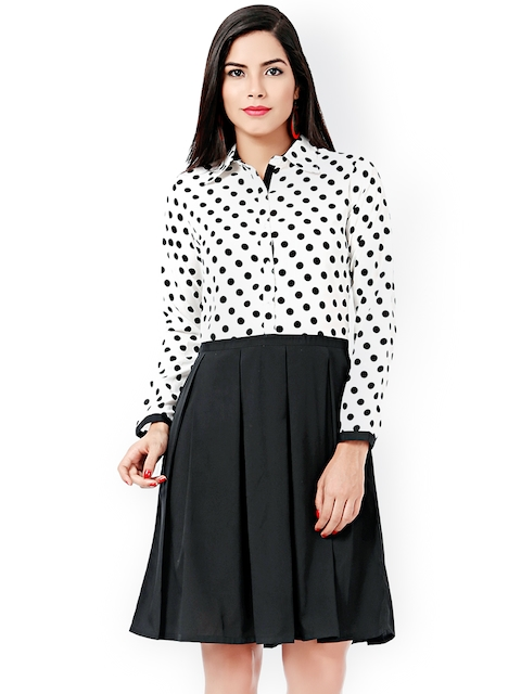 Eavan Black & White Polka Dot Print Shirt Dress  available at myntra for Rs.679