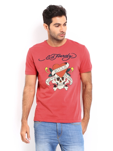 Ed Hardy Men Mineral Red Printed T-shirt