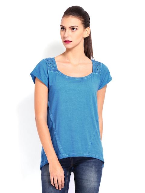 Ed Hardy Women Blue Printed Top