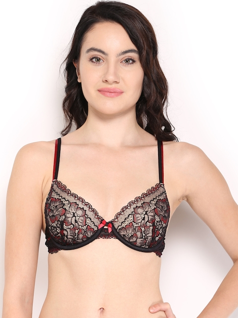 Enamor Reveal Black & Red Plunge Bra DB18