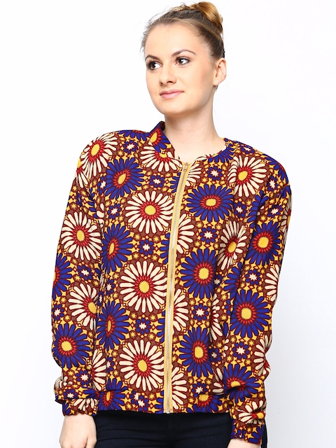 Engross Women Multicoloured Floral Printed Jacket