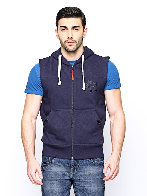 FILA Men Navy Gorti Hooded Sleeveless Sweatshirt