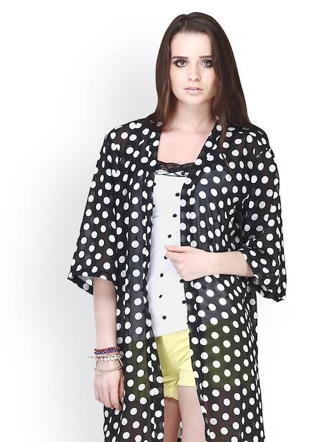 FabAlley Women Black Polka Dot Print Robe