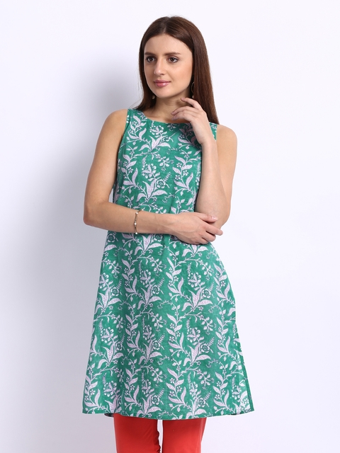 Fabindia Women Green & White Printed Kurta