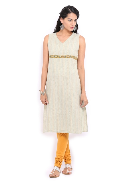 Fabindia Women Beige Striped Kurta