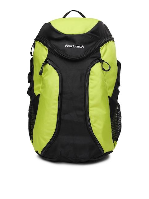 Fastrack Unisex Lime Green & Black Backpack