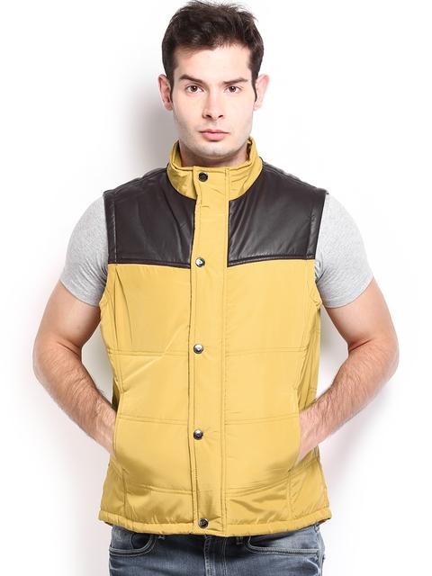 Flying Machine Men Mustard Yellow Padded Sleeveless Jacket