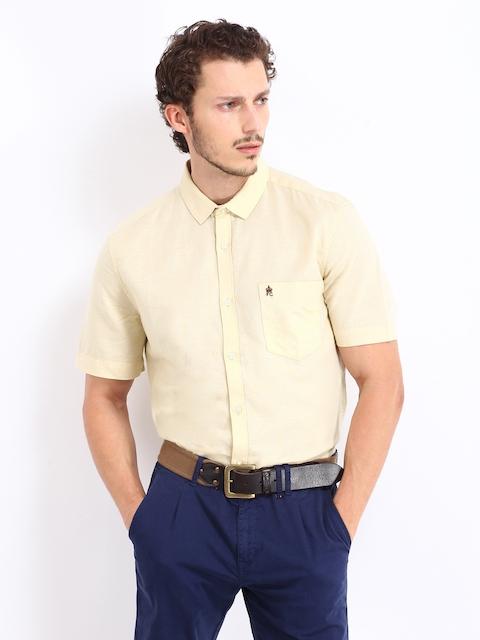 French Connection Men Beige Linen Blend Slim Fit Casual Shirt