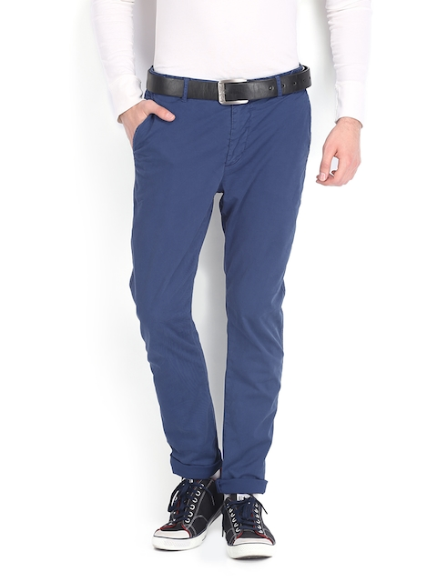 French Connection Men Blue Tapered Skinny Fit Trousers