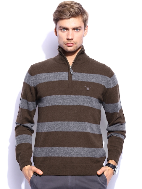 GANT Men Brown & Grey Striped Woollen Sweater
