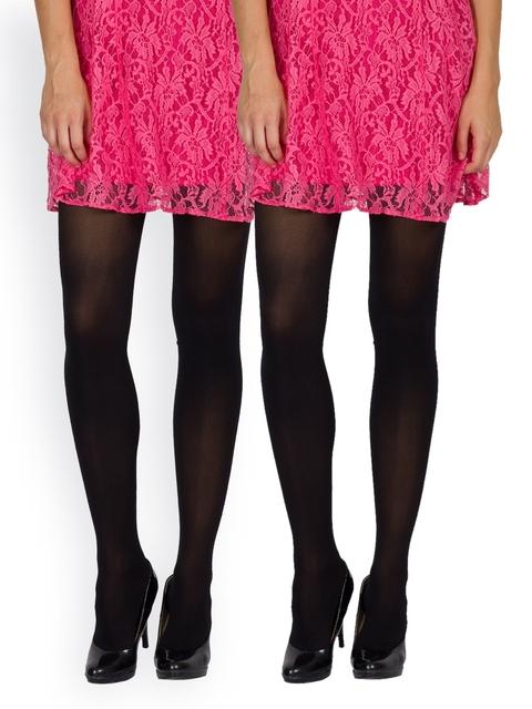 Golden Girl Set Of Two Black Stockings