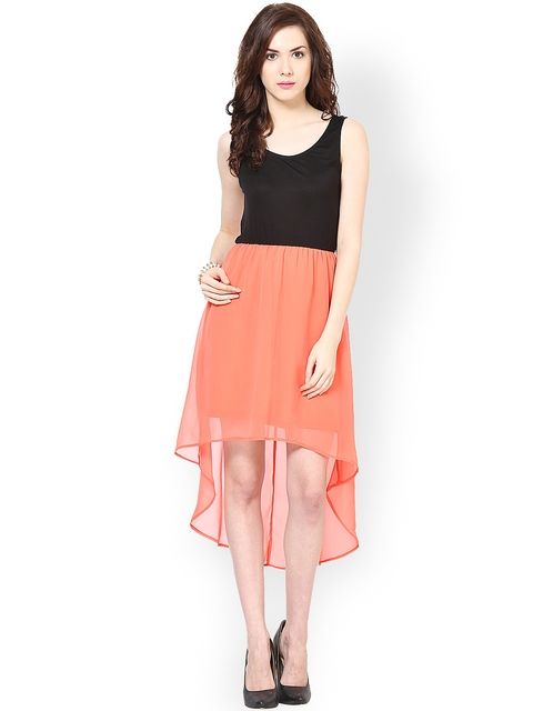 Harpa Black & Coral Pink High Low Dress  available at myntra for Rs.549
