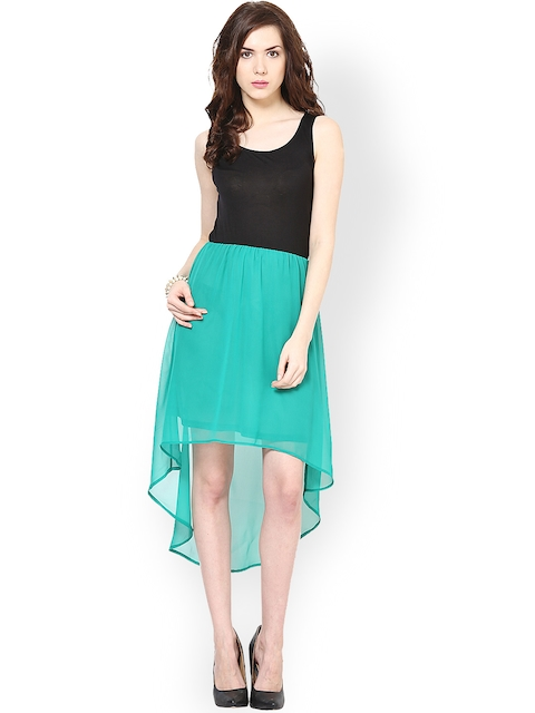 Harpa Black & Green High Low Dress  available at myntra for Rs.549