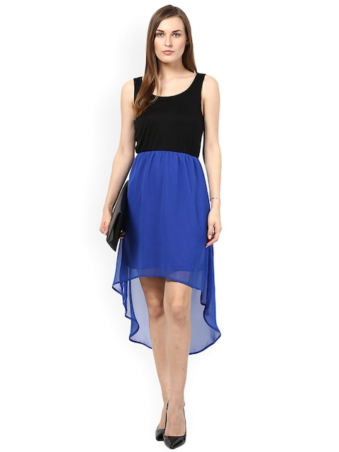 Harpa Black & Blue High Low Dress  available at myntra for Rs.399