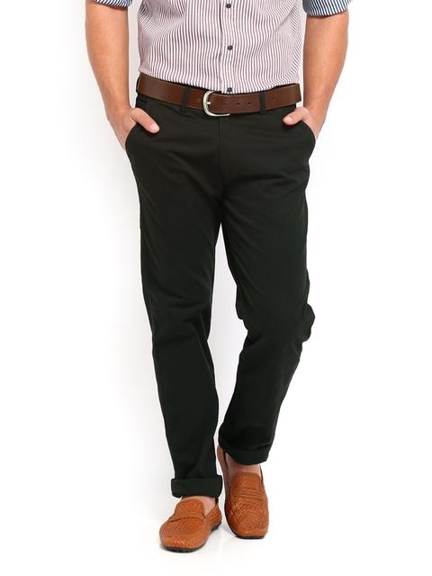 IZOD Men Black Slim Fit Chino Trousers