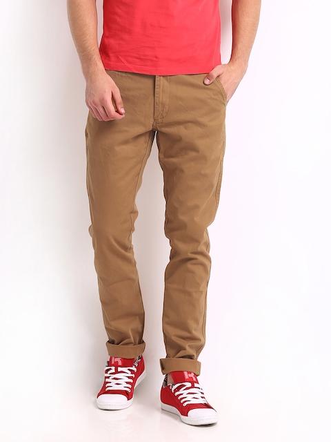 IZOD Men Mustard Brown Zitro 150 Slim Fit Casual Trousers