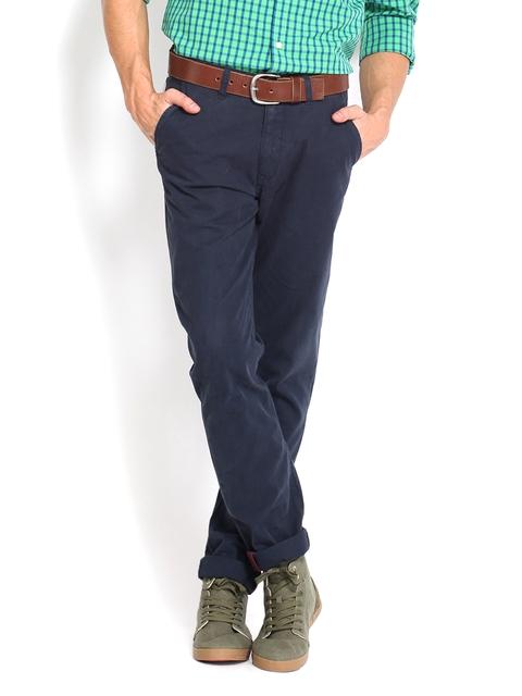 IZOD Men Navy Casual Trousers