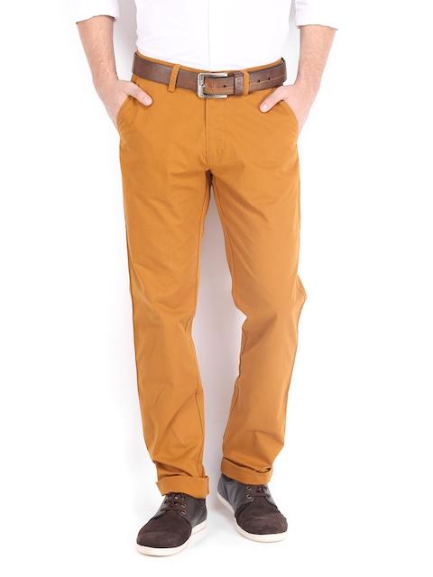 IZOD Men Rust Brown Slim Fit Casual Trousers
